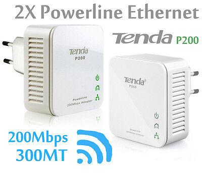 KIT 2 POWERLINE ADATTATORI ETHERNET NETWORK TENDA P200 GIA' CONFIGURATI 200 MBPS