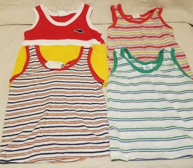 Vintage 1980s Lot Of 4 Boys Tank Tops Striped