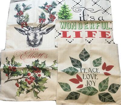 ZUEXT Set of 4 Holiday Throw Pillow Covers 20x20 Inch Double Side Print, Indoo