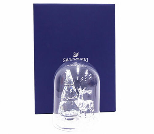 SWAROVSKI 5403173 Bell Jar Pine Tree & Stag Christmas scene Ornament Figurines