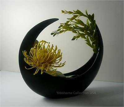 "Japanese 9"" H Ceramic Crescent Shape Ikebana Flower Arrangement Vase/New"