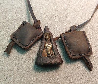 Buddha Bronze Amulet Tibetan Prayer Talisman 2 prayer Leather Pouch Necklace