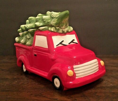 Farmhouse Christmas Red Pick-up Truck & Tree Cookie Jar