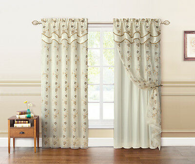 Double Layer Beige and Gold Embroidered Window Curtain Panel: Attached Valance ()