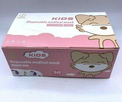 50x Masken Gesichtsmaske Kinder Mund-Nasen-Schutz 3-lagig Mundschutz NEU