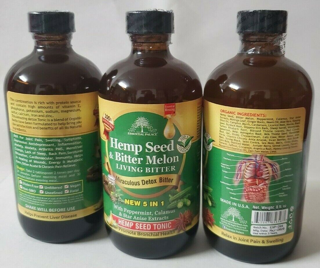Organic HEMP SEED & MELON Living Bitter, Essential Palace Miraculous Detox Tonic 8