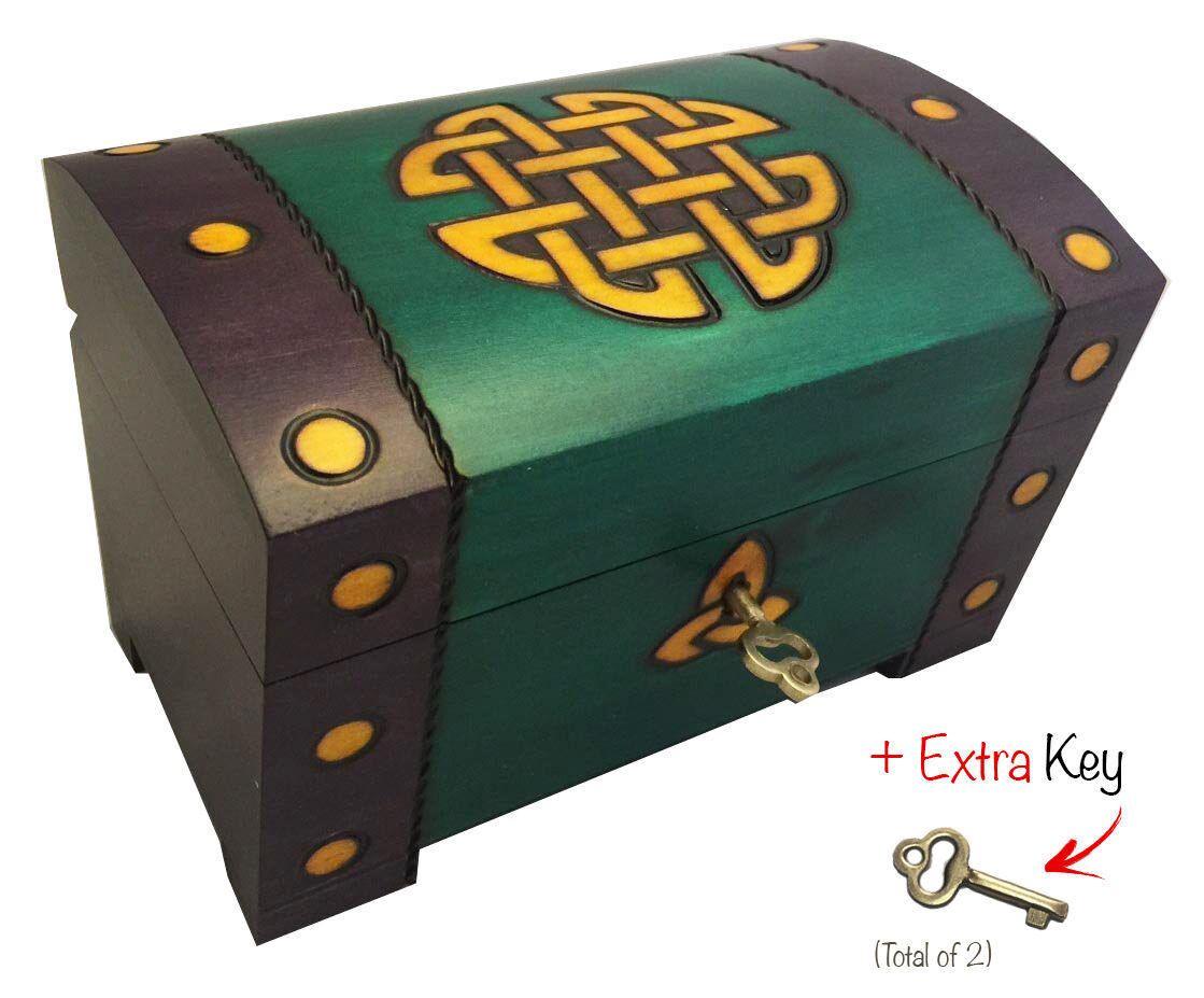 Celtic Gold Knots Chest Box Polish Handmade Wood Keepsake...