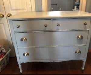 Antique dresser painted blue