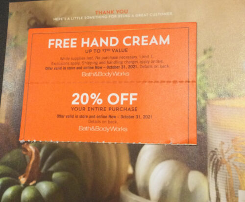 Bath Body Works Coupon 20 Off Purchase Gift For Hand Cream - $12.00