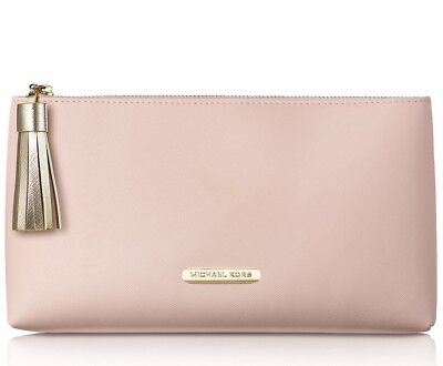 Pink Pouch - MICHAEL KORS peach pink blush nude clutch pouch cosmetic makeup bag purse NEW