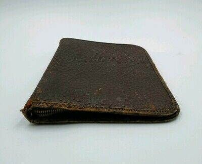 Vintage 1950s Leather Bound Padfolio Note Pad Zipper Binder Rough Brown Leather