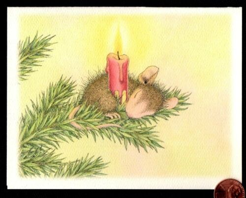 Christmas House Mouse Mice Sleeping Holding Candle - Christmas Greeting Card