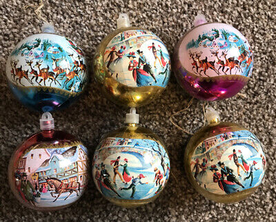 Set Of 6 Vintage Style Christmas Baubles