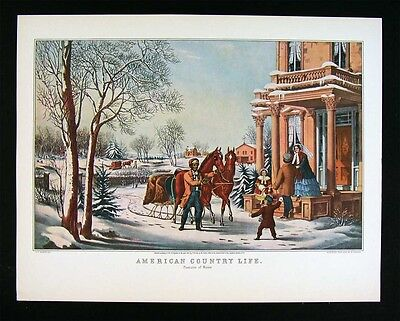 Currier & Ives Print - American Country Life Pleasures of Winter Snow Horse Sled ()