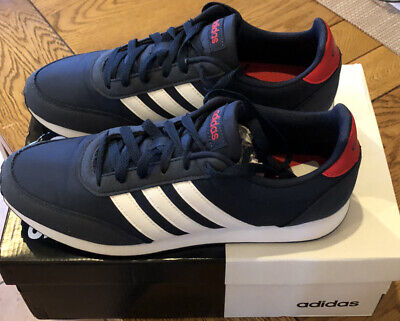 Adidas V RACER 2.0  mens RUNNING TRAINERS  Blue/ White/ Red Size 9