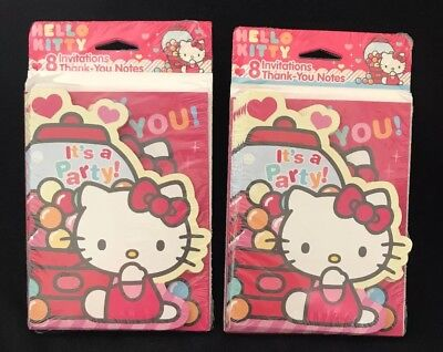Hello Kitty Birthday Party Invitations - 16-Hello Kitty Sweet Candy Pink Birthday Party Invitations Thank You Notes Cards