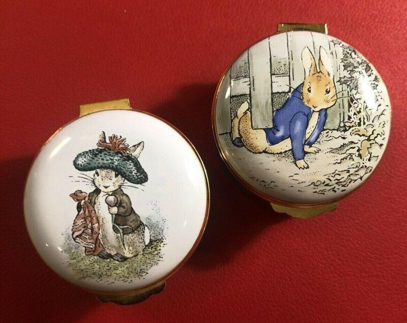 TWO Crummles Beatrix Potter Enamel Trinket Boxes Peter Rabbit & Benjamin Bunny