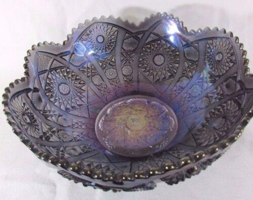 "Vintage Imperial Amethyst Carnival Glass 10"" Bowl Original Sticker"