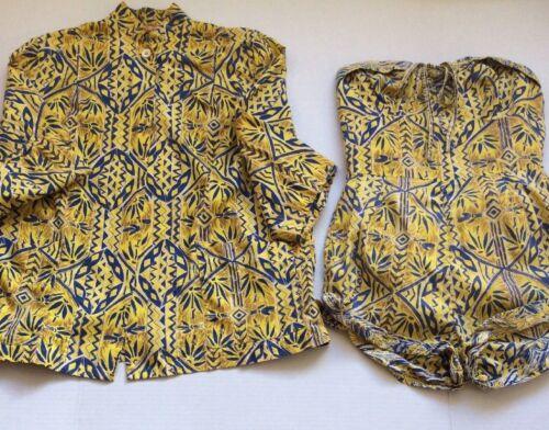 Vtg Jantzen Bathing Suit Swimsuit & Cover Up Bamboo Tiki Hawaiian Romper