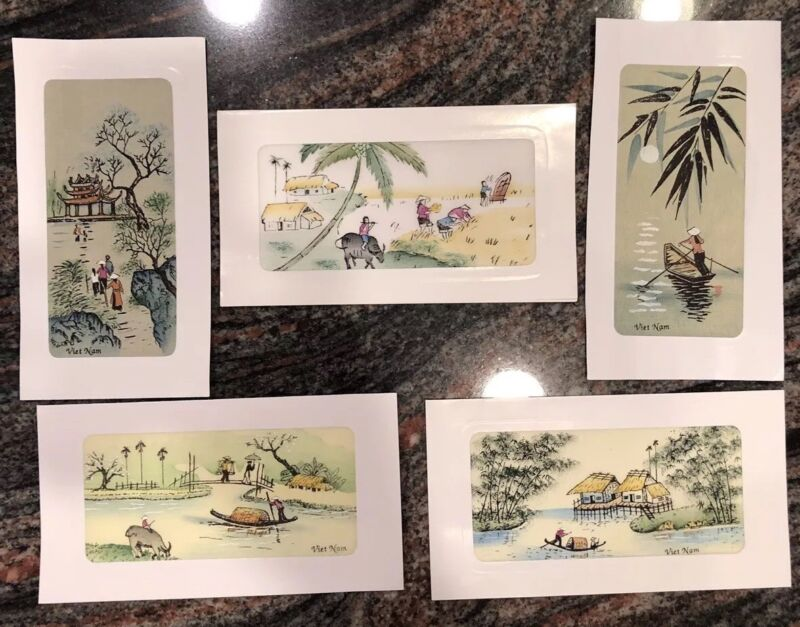 "Lot Of 5 Different Unframed Vietnam Silk Pictures 4"" X 7"" Each"