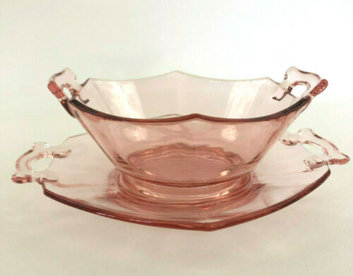 Cambridge Glass pink depression glass mayonnaise bowl & underplate DECAGON 1930s