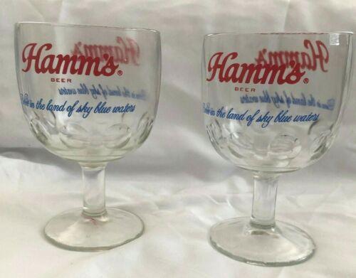Vintage HAMMS Beer Thumbprint Goblet Barware Stemware Set of 2