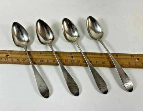 Four Antique Coin Silver Spoons John Bedford Fishkill New York  1782 - 1805
