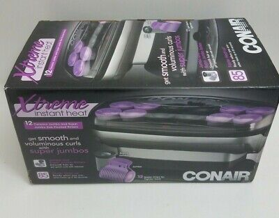 Conair Instant Heat Hot Rollers Xtreme 12 Large Ceramic Jumbo Flocked -