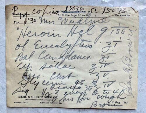Antique 1900s Heroin Prescription Paper Ephemera Leavenworth Kansas Pharmacy