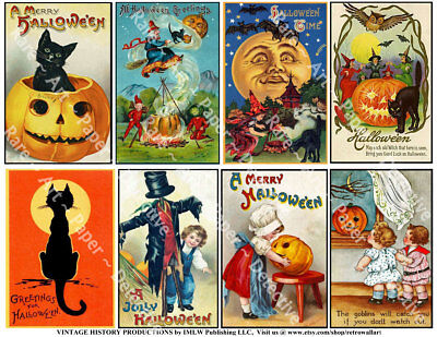 HALLOWEEN Clip Art Sticker REPRODUCTIONS, Halloween Decor, Black Cats, 1 Sheet