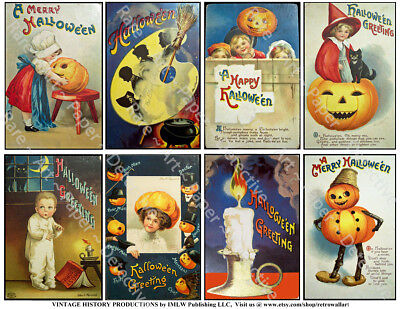 Halloween Holiday Postcard Tag Reproduction Stickers, Vintage Pumpkin, 1 Sheet (Reproduction Vintage Halloween Postcards)