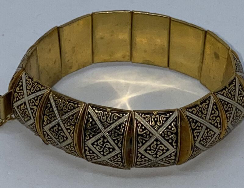 DAMASCENE GOLD & BLACK Bracelet Vintage Spain