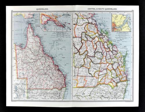 1907 Map Australia Queensland Brisbane Cape York - London Geographical Institute