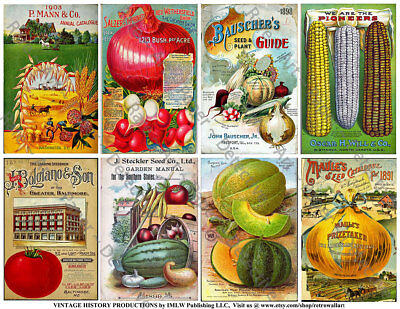 Seed Catalog Covers, 2 Sticker Sheets, Antique Garden Decor Seed Pack Art - Garden Decor Catalogs