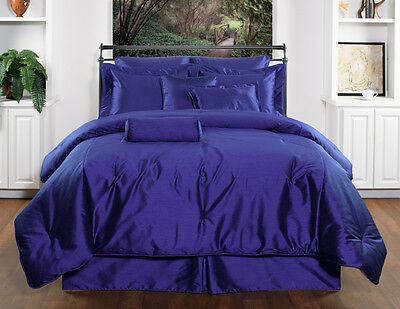 Royal Blue Comforter - 10pc Royal blue solid color design faux silk Comforter Set Cal King