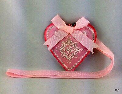 Corazón Chapa Rosa con Decoración Lazo Y Banda para Colgar