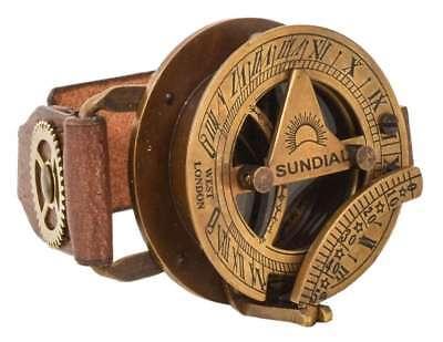 Lederarmband Steampunk Uhr Kompass Sonnenuhr Armreif (Steampunk Arm)
