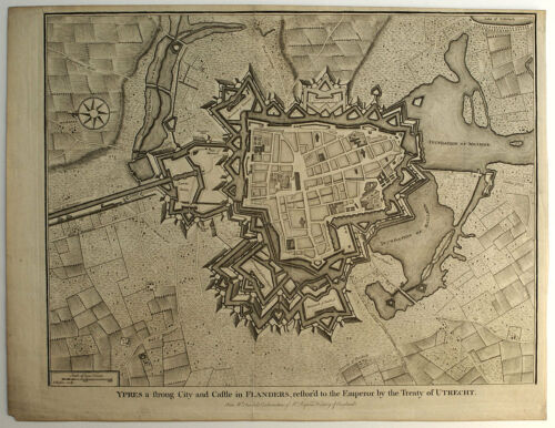 1745 YPRES BELGIUM (FORTIFIED TOWN), TINDAL - ANTIQUE BLACK & WHITE MAP