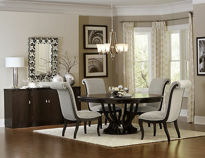 OVAL ROUND ESPRESSO PEDESTAL DINING TABLE CHAIRS DINING ROOM FURNITURE SET