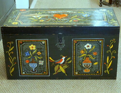 Vtg German Handpainted TRUNK Heart Bird Edelweiss Fruit Iron Handles Christa