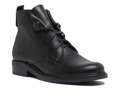 Justin Reece Women Lace up Military Leather Ankle Boot In Black Size UK 3 - 8