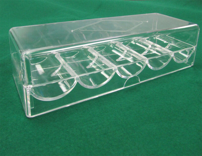 NEW 1 CASINO POKER CHIPS RACKS / TRAYS WITH COVER CLEAR ACRYLIC  (1pc)