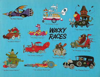 """TIN SIGN """"Wacky Racers Blue""""  Penelope Dastardly Hanna Cartoon Wall Decor"""