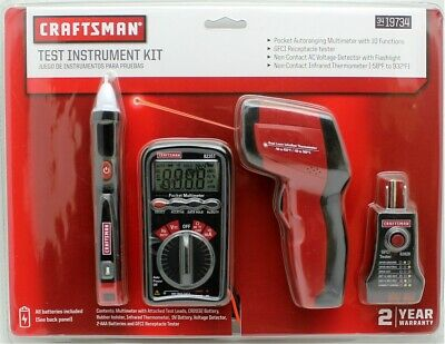 New Craftsman Dual Laser Thermometer Ir Multimetergfci Recepticle Tester 19734