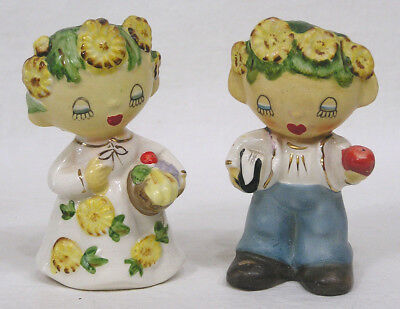 Vtg Lipper & Mann Flower Kids Salt Pepper Shakers CUTE! 1950s