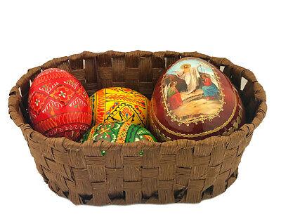 Easter Basket Ukrainian Wooden Eggs Pysanky Resurrection of Christ Icon Egg Gift - Wooden Easter Baskets