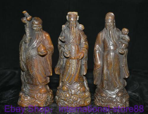 "8"" Old China Ox Horn Carving Feng Shui 3 Longevity God Fu Lu Shou Life Statue"