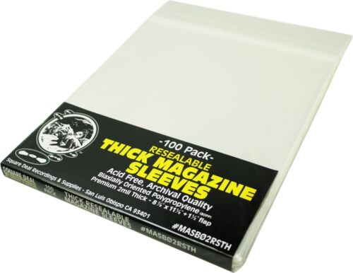 (100) Thick Magazine Sleeves - Resealable Premium 2mil Archival Quality Covers