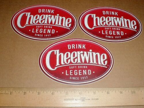 "3 New Cheerwine decal sticker lot soda Soft Drink cola since 1917 6"" inchs NOS"