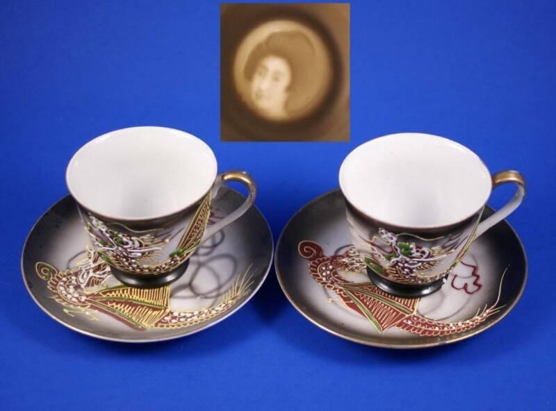 Two Sets of Fine Vintage Japanese Porcelain Tea Cups - Lady Image On Bottom